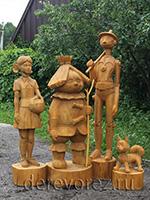 Садовые деревянные скульптуры персонажей сказки Волшебник изумрудного города
