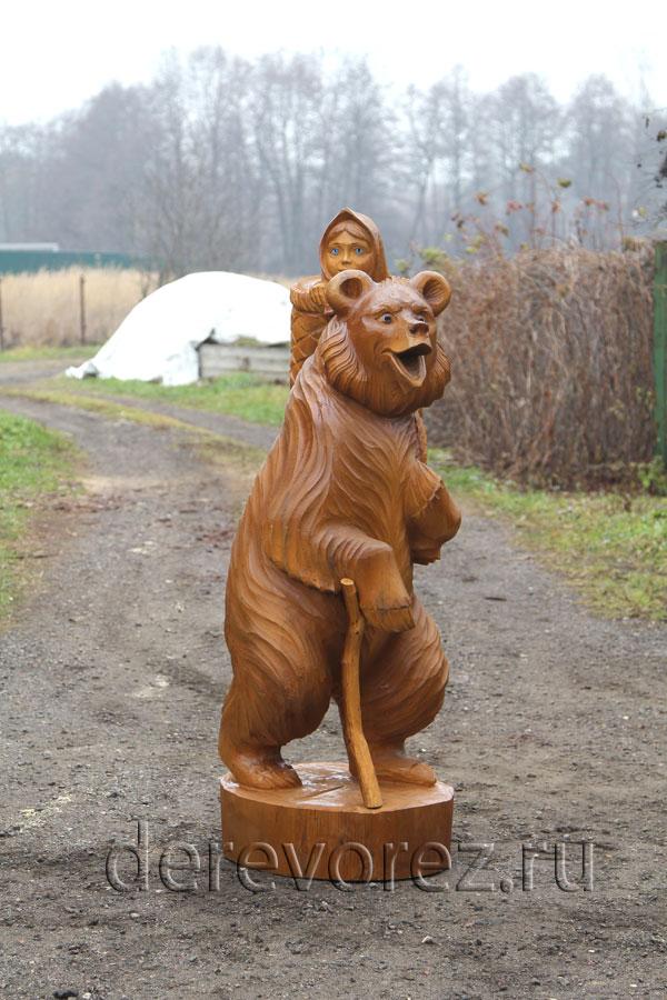 Садовая скульптура по мотивам сказки Маша и медведь