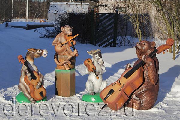 Басня Квартет. Скульптуры из дерева