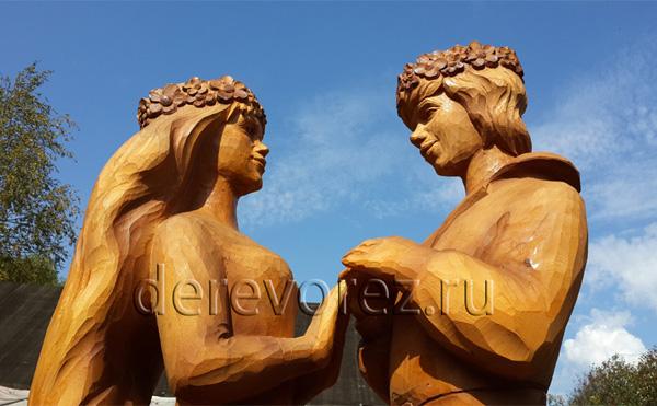 Трубадур и Принцесса. Скульптуры из дерева